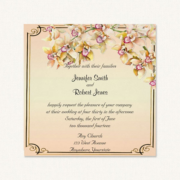 Orchid inviations with watercolor orchid design.