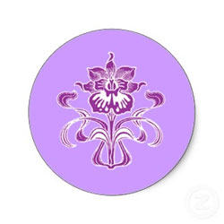 Purple Orchid Favor Stickers or Seals