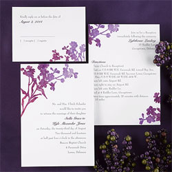 Orchid wedding invitation watercolor style