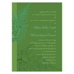Green Tropical Orchids Wedding Invitations