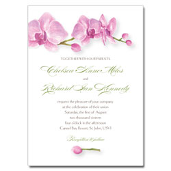 Pink Orchids Watercolor Wedding Invitations