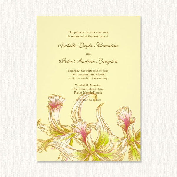 Orchid wedding invites with pretty green and pink watercolor style orchid design.
