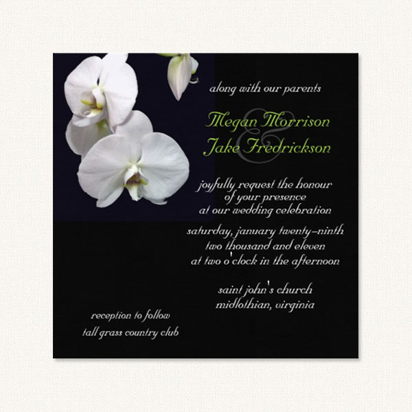 Orchids wedding invitations with white orchids on a black background.