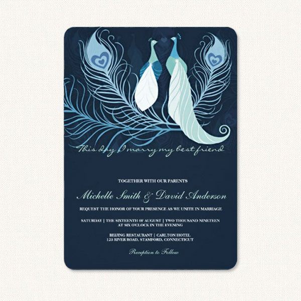 Peacock design wedding invitations with a pair of peacocks and peacock feathers.
