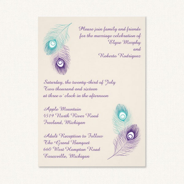 Peacock wedding invitation with aqua and purple peacock feathers.