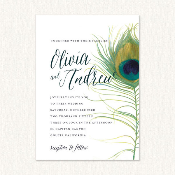 Peacock wedding invite with large peacock feather and typography on white background.