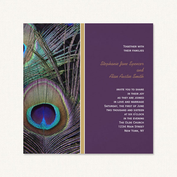 Purple peacock wedding invites with large realistic peacock plume image.