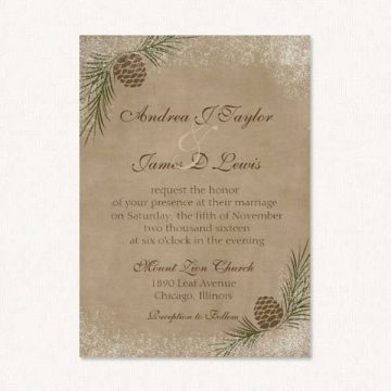 Pine cone wedding invites winter themed with snow, and pine cones, and rustic background.