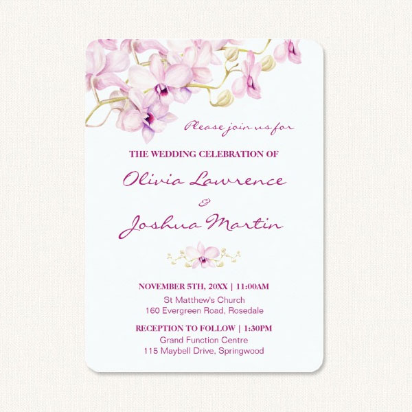 Purple orchid wedding invitations with watercolor purple orchid design.