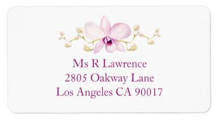 Purple orchid wedding invitations matching address labels.