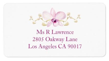 Purple orchid wedding invitations matching address labels.