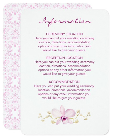 Purple Orchid Wedding Information Cards with watercolor design.
