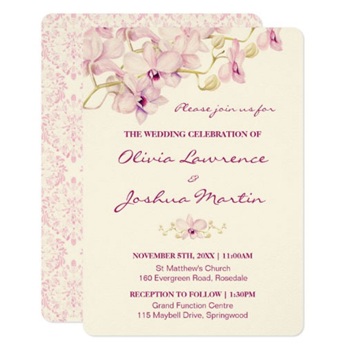 Purple orchid wedding invitations printed on ecru paper stock.
