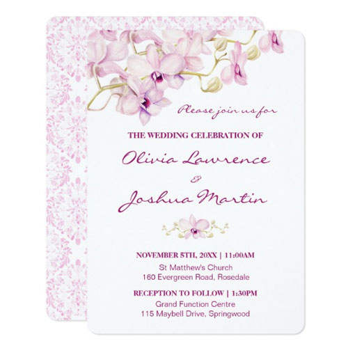 Front and back view of purple orchid wedding invitations.