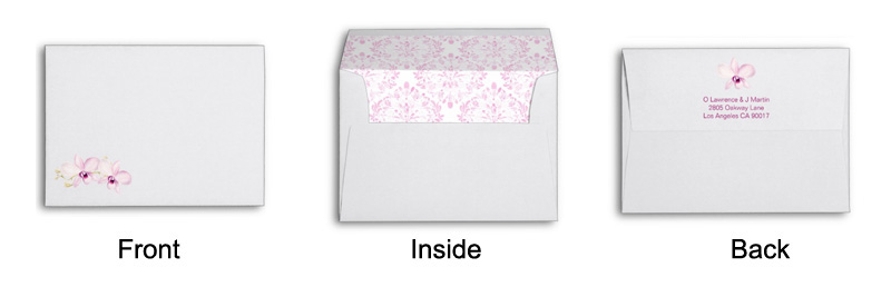 Purple orchid wedding invitations matching envelope.