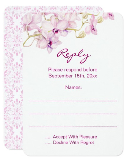 Purple Orchid Wedding Reply Cards