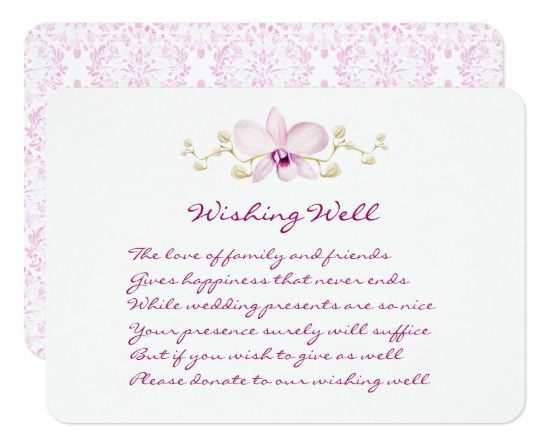 Purple orchid wedding wishing well cards with watercolor orchid design.