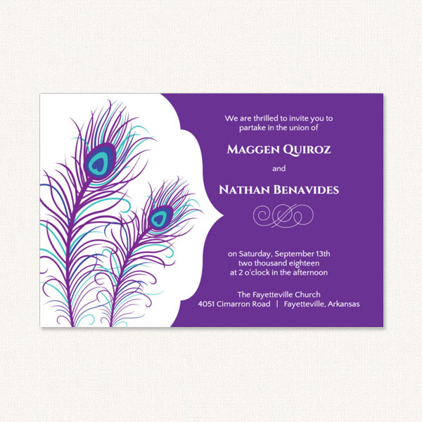 Purple peacock wedding invitations with two peacock feathers on the left side and invitation text on the right.