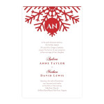 Snowflake wedding invitations with red snowflake.