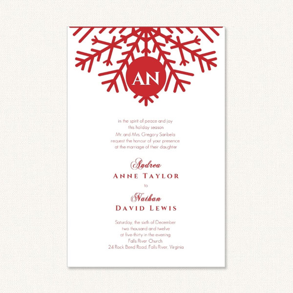 Red snowflake wedding invitations with a red snowflake motif and monogram.