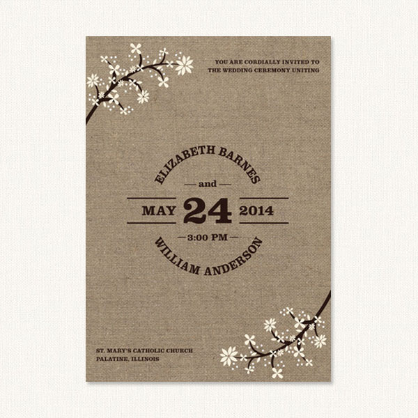 Rustic burlap wedding invitations with flowers and burlap background.