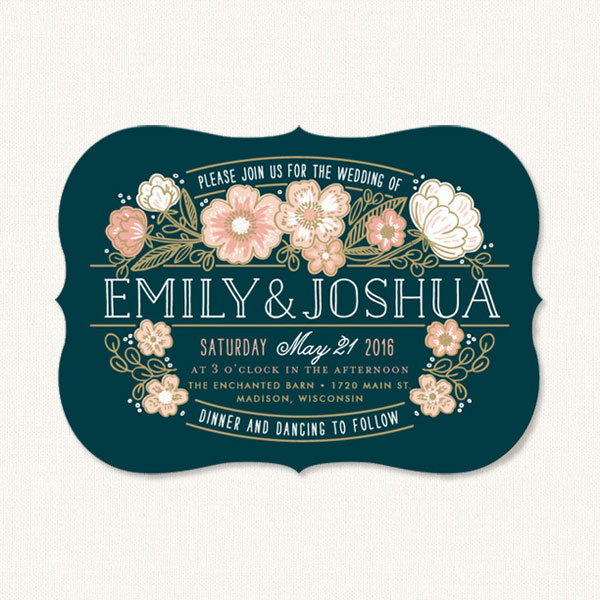 Rustic country wedding invitation with country flowers and decorative typography.