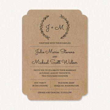 Rustic elegant wedding invitations with bride and groom initials monogram and leaf sprigs