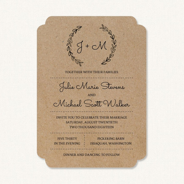 Rustic elegant wedding invitations with bride and groom initials monogram and leaf sprigs