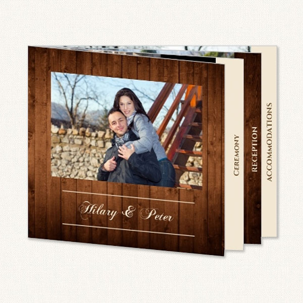 Rustic photo wedding invitations booklet with ceremony, reception and accommodation information.