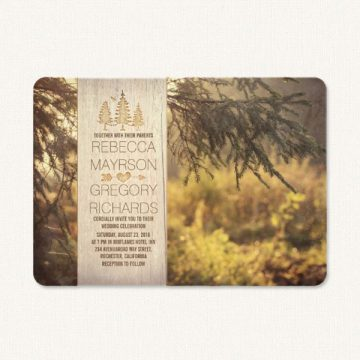 Rustic themed wedding invitations with country imagery, pine trees and woodgrain.