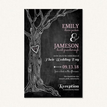 Rustic tree wedding invite with a tree graphic and typography on black chalkboard background.