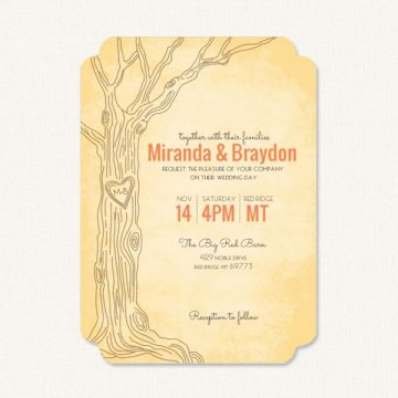 Simple fall wedding invitations with fall theme colors, tree and heart carving.
