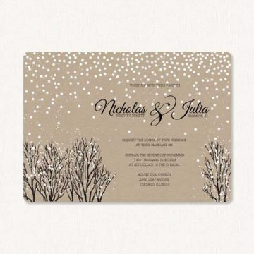 Snow wedding invitations with kraft paper background, winter bushes and falling snow.