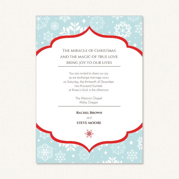 Snowflake wedding invites. Holiday themed with white snowflakes on blue background with red frame.