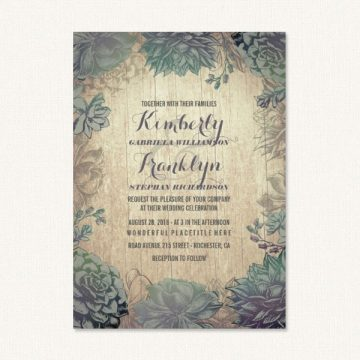 Succulent wedding invites with succulents and vintage woodgrain background.