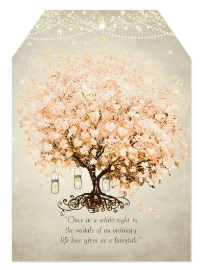 Tree hearts wedding invitations with heart leaf tree on felt ecru paper stock.