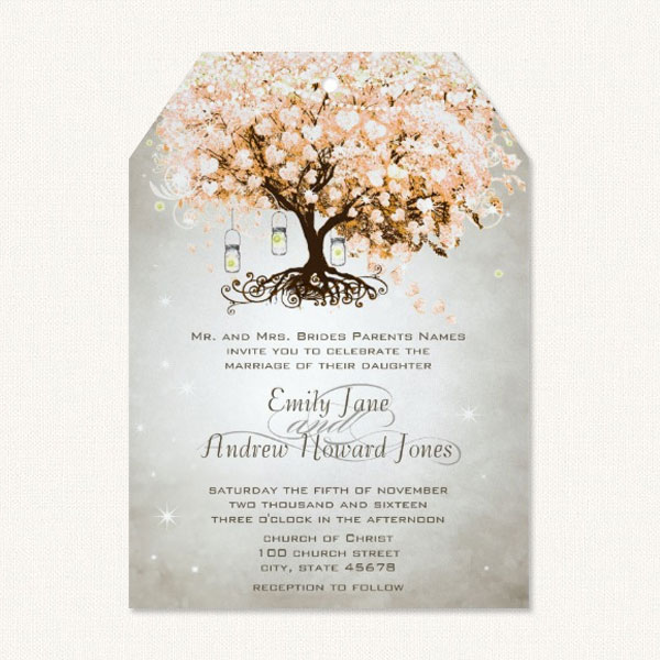 Tree hearts wedding invitations with pink heart leaves and mason jars.