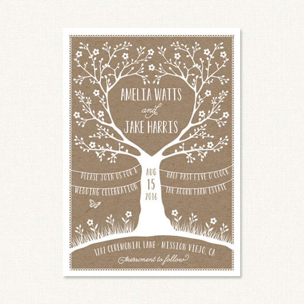 Tree wedding invitation featuring a tree with branches in the shape of a heart.