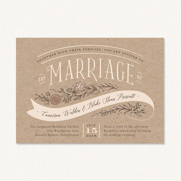 Vintage country wedding invitations with flowers and banner on kraft background.