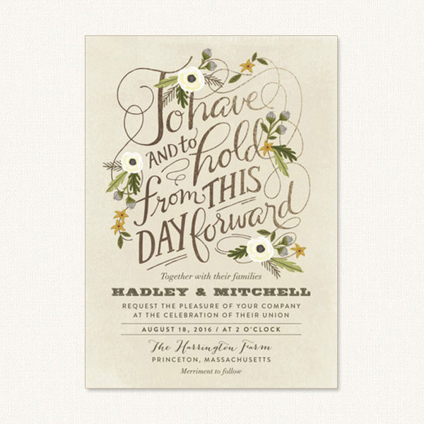 Vintage garden wedding invitations with flowers and elaborate script typography.