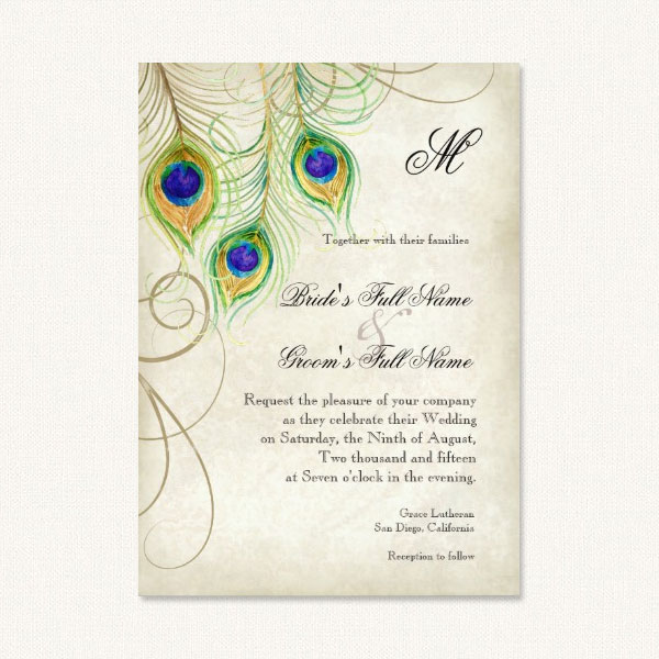 Vintage peacock wedding invitations with watercolor feathers.