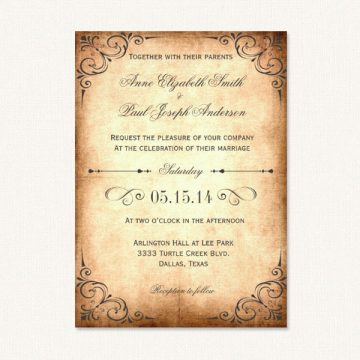 Vintage rustic wedding invitations with decorative corners and vintage paper background texture.