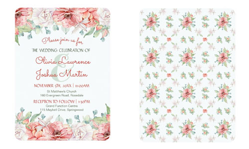 Watercolor flower wedding invitations front and back views.