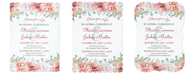 Watercolor Flower Wedding Invitations Trim Options