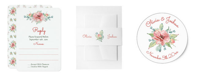 Watercolor flower wedding stationery with watercolor floral motifs.