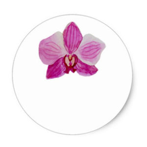 Round wedding favor sticker with single purple orchid watercolor flower on white background.