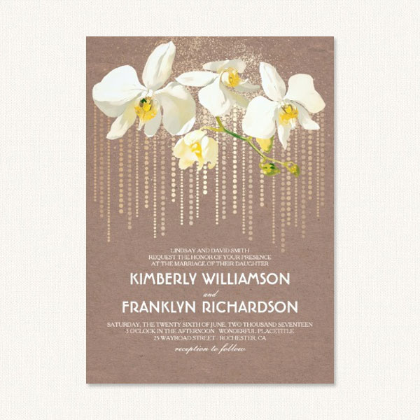 Vintage style wedding invitations with orchid design featuring white orchids and vintage glam.