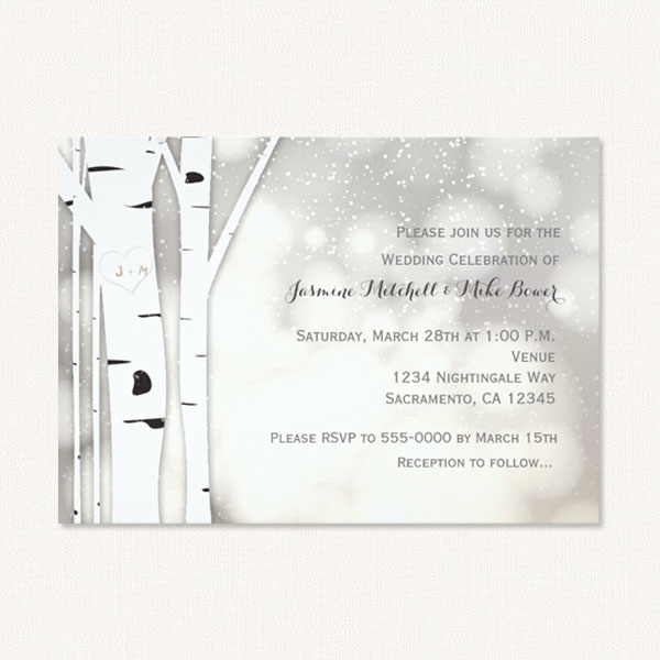 White birch tree wedding invitations with monogram, birch trees and snow.