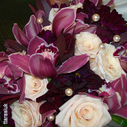 Orchid Wedding Bouquet with Purple Cymbidium Orchids and Pearls