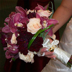 Orchid Wedding Bouquet with Purple Cymbidium Orchids
